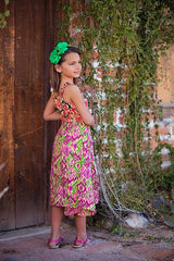 Ikat Visions Dress in Pink - Tomato Superstar