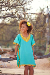 Green & Yellow Pom Pom Caftan - Tomato Superstar