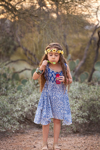 Boho Blue Floral Geometric Handkerchief Dress- Tomato Superstar