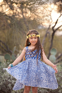 Bohemian Blue Floral Geometric Handkerchief Dress- Tomato Superstar