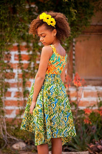 Ikat Visions Dress in Orange & Green - Tomato Superstar