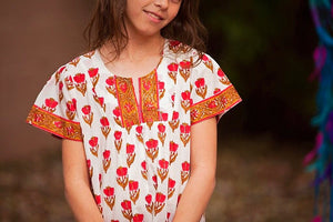 Red Floral Notch Neck Tunic - Tomato Superstar