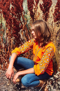Orange Embroidered Tunic Blouse