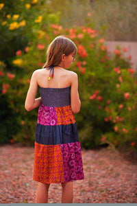 Pink & Orange Patchwork Halter Dress - Tomato Superstar