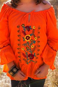 Orange Embroidered Off the Shoulder Tunic Blouse - Tomato Superstar