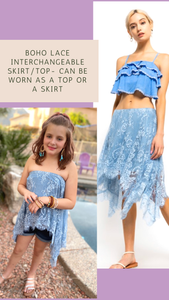 Blue Lace Interchangeable Skirt/Top