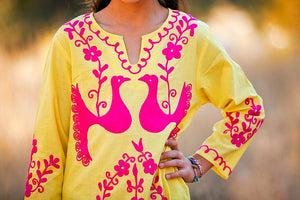 Yellow Embroidered Tunic Dress - Tomato Superstar