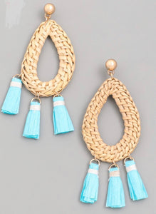 Aqua bohemian tassel Earrings - Tomato Superstar