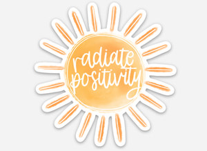 "Radiate Positivity 3"" x 3"" Sun Sticker ☀️ - Tomato Superstar"