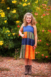 Orange & Tribal Patchwork Halter Dress - Tomato Superstar