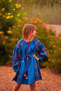 Bohemian Blue Embroidered Tassel Dress with Belt - Tomato Superstar