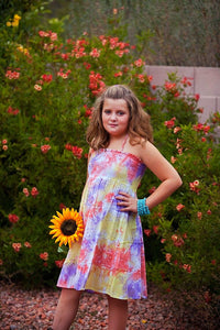 Orange & Yellow Tie Dye Halter Dress - Tomato Superstar