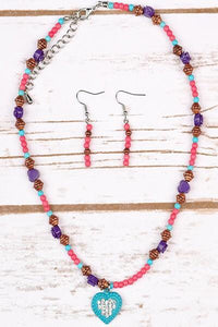 Boho Beaded Necklace & Earring Set - Tomato Superstar