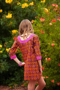 Pink Floral Geometric Tunic Dress - Tomato Superstar