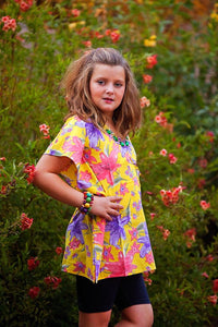 Yellow Floral Geometric Caftan - Tomato Superstar