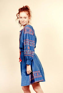 Blue Embroidered Tassel Dress with Belt