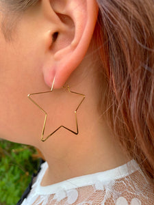 Gold Star Hoop Earrings - Tomato Superstar