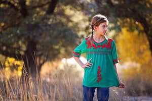 Pretty Peasant Tunic Blouse in Green & Red - Tomato Superstar