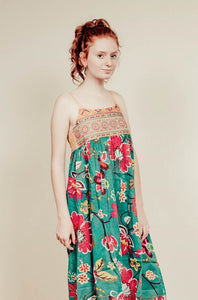 Green Floral Geometric Midi Dress - Tomato Superstar