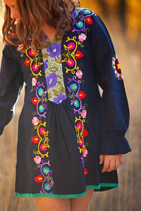 Navy Blue Floral Embroidered Tunic Dress - Tomato Superstar
