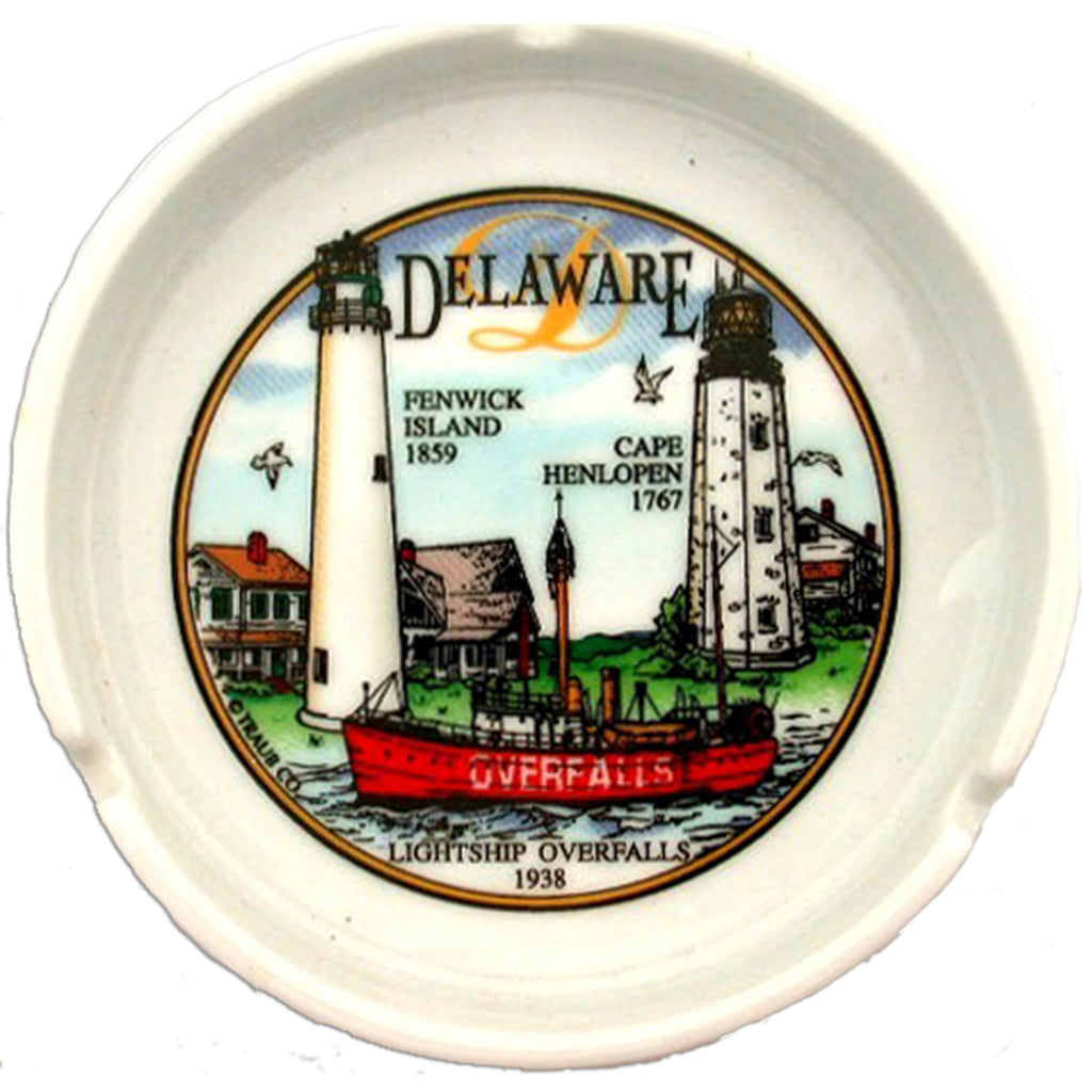 ATDE2 Ashtray 5 inch Round Delaware Lighthouse