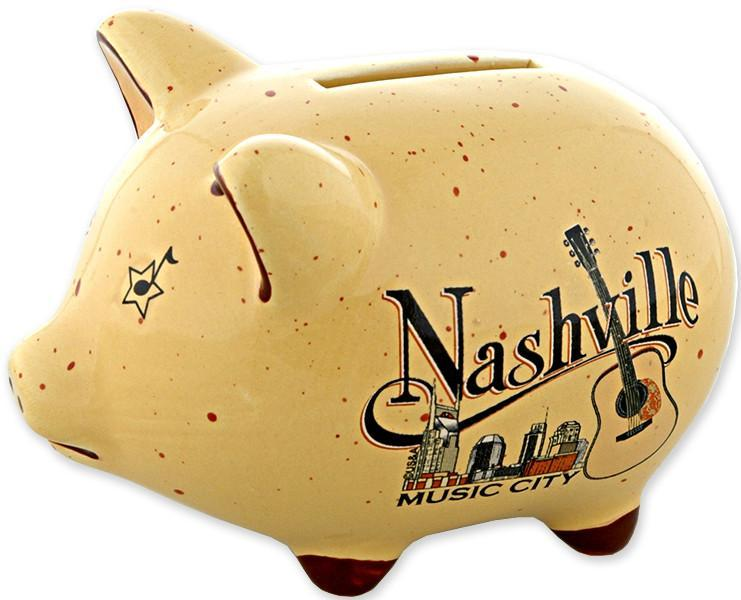 BANT1 Piggy Bank Tan Speckled Nashville