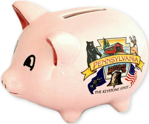 BAPA1 Piggy Bank Pink Pennsylvania Keystone