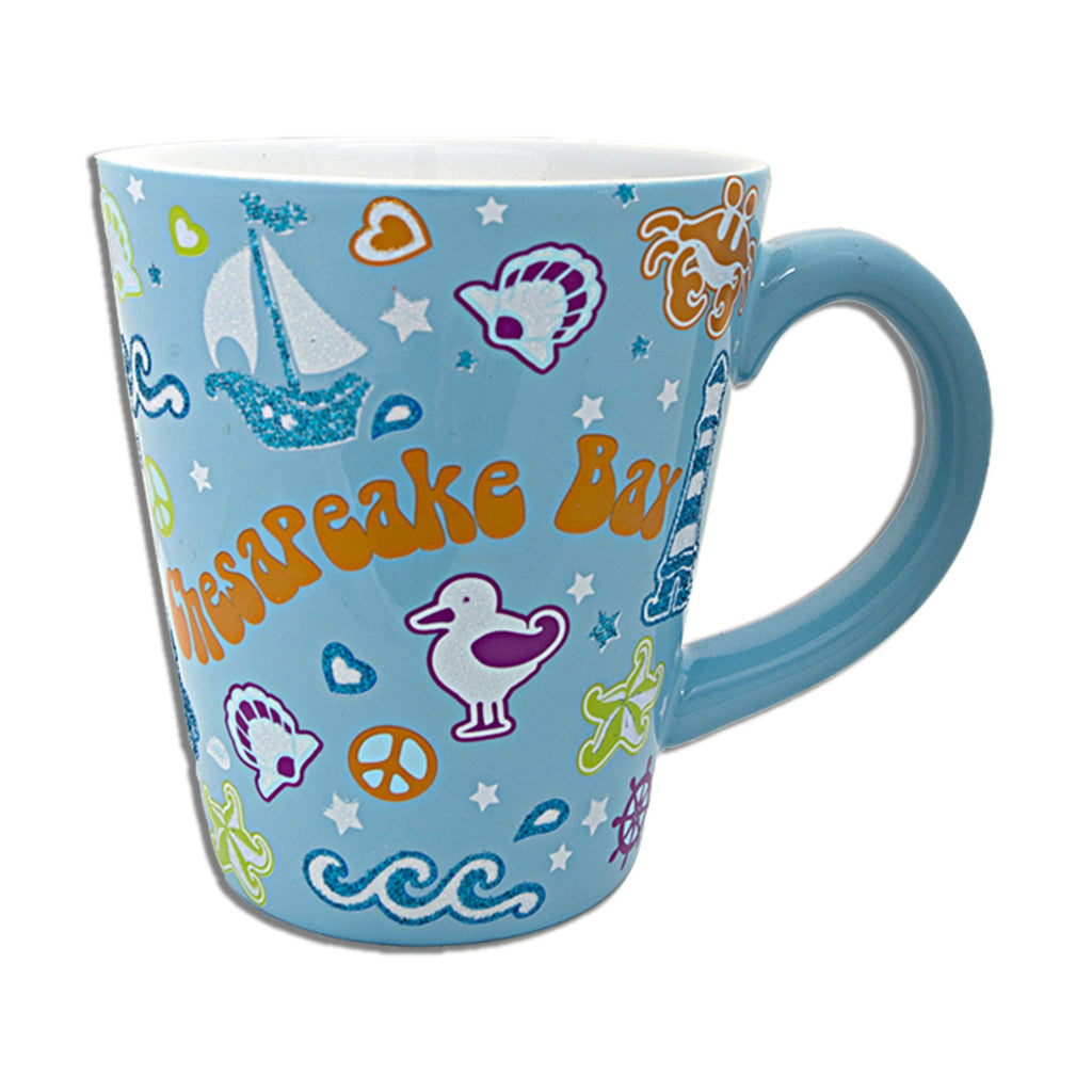 CMCB12A Coffee Mug AQUA Glitter Chesapeake Bay