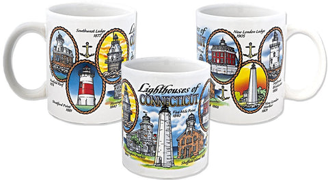CMCT03 Coffee Mug White Lighthouses of Connecticut