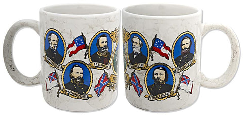 CMCW01 Coffee Mug Marble Civil War Confederate Generals