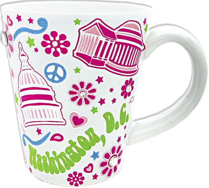 CMDC09W Coffee Mug Glitter White Washington DC