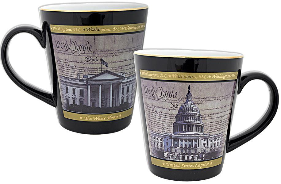 CMDC18 Coffee Mug Black Tapered Washington DC Parchment