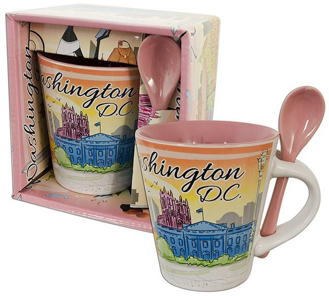 CMDC43 Tapered Mug Boxed with Spoon DC Watercolor