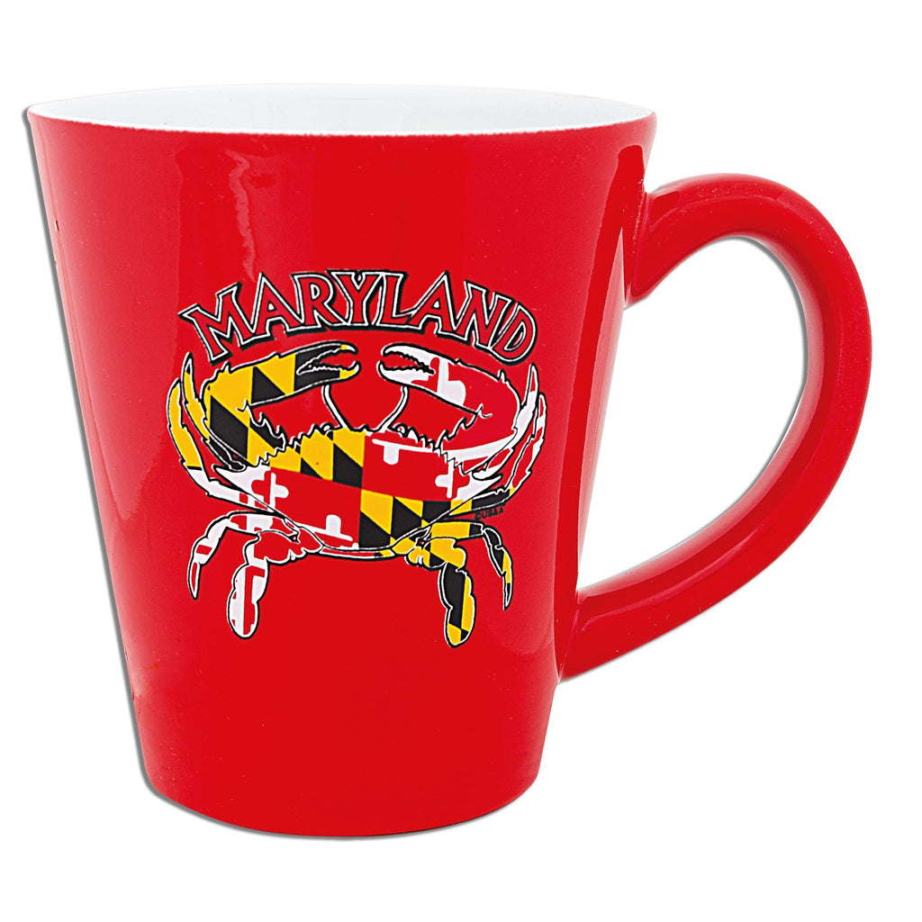 CMMD07 Coffee Mug Red Tapered Maryland Crab Flag