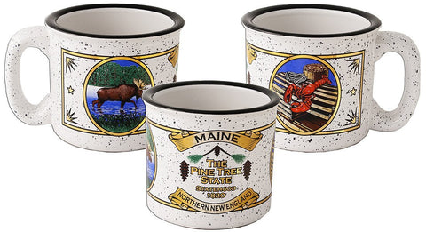 CMME01 Campfire Mug White with Black Maine Lobster Moose