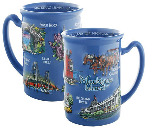 CMMK01 Coffee Mug Blue Raised Mackinac Island
