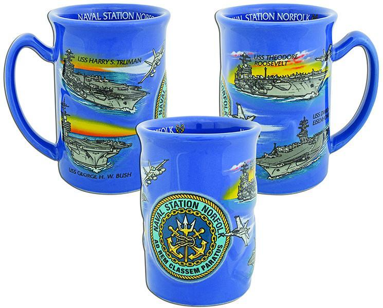 CMNV05 Coffee Mug Blue Raised Naval Station Norfolk