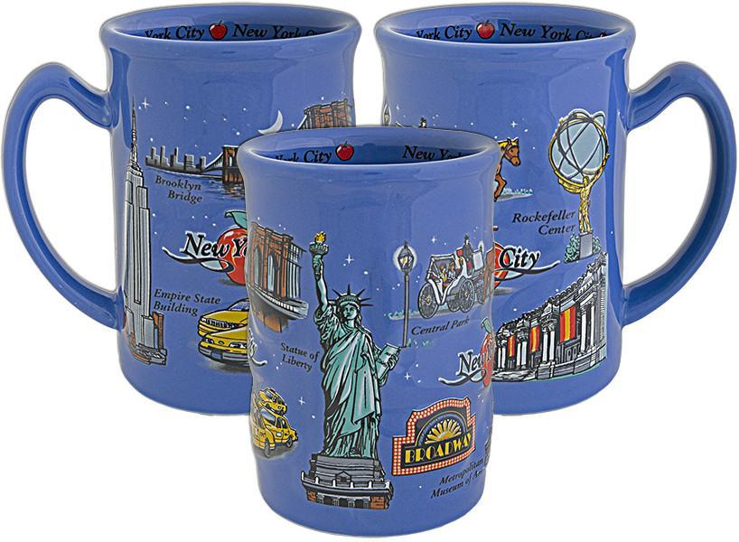 CMNY08 Coffee Mug Blue Raised New York City