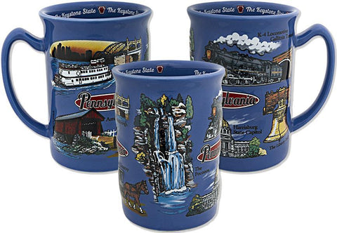 CMPA03 Coffee Mug Blue Raised Pennsylvania