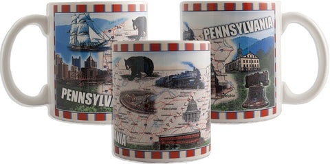 CMPA04 Coffee Mug Wrap Map Pennsylvania