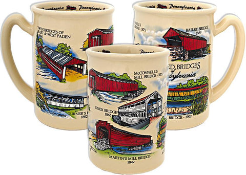 CMPA15 Coffee Mug Raised Tan PA Covered Bridges
