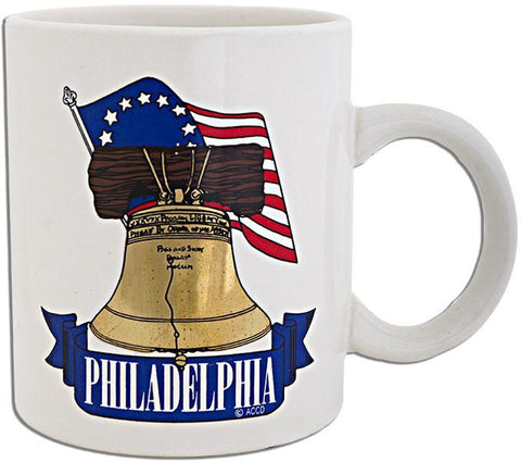 CMPH34W Coffee Mug White Flag Bell Philadelphia