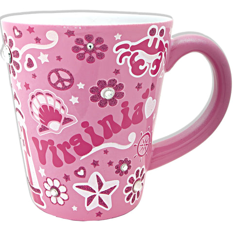 CMVA09P Coffee Mug Glitter Pink Virginia