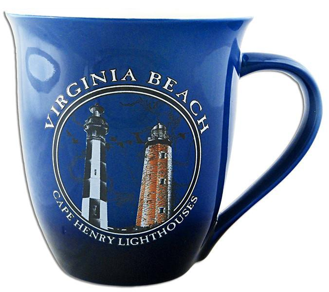 CMVB04 Coffee Mug 2-ToneBlue Virg Beach Cape Henry Lights