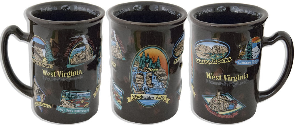 CMWV01 Coffee Mug Raised Brown West Virginia Highlands