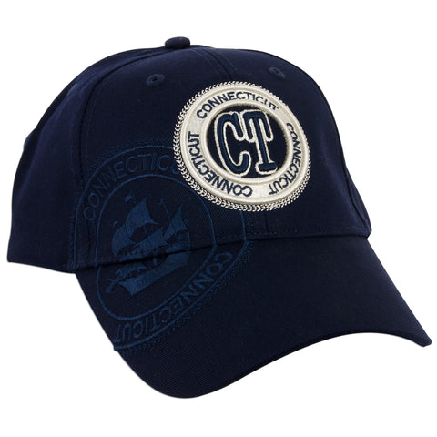 CPCT02 Baseball Cap - Connecticut CT Stamp NAVY