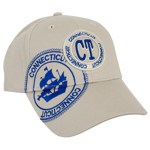 CPCT03 Baseball Cap - Connecticut CT Stamp KHAKI/ROYAL