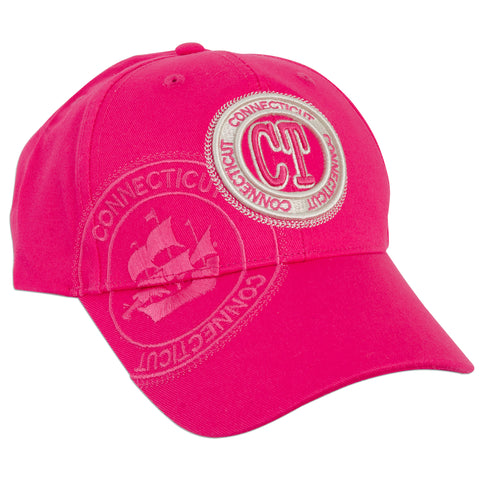 CPCT04 Baseball Cap - Connecticut CT Stamp FUCHSIA