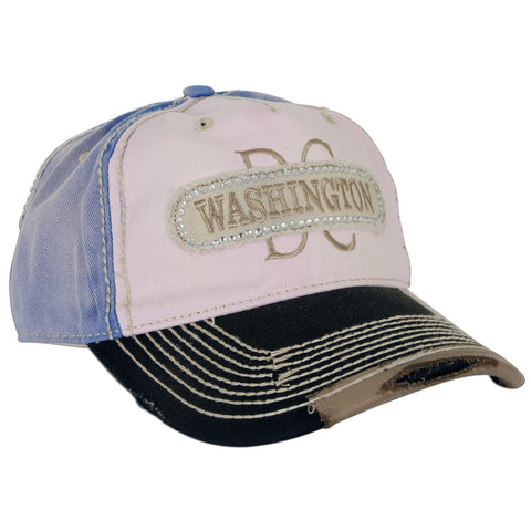 CPDC05 Cap Washington DC Denim Multicolored with Metal Beads Pink
