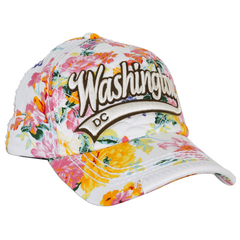 CPDC66-C Robin Ruth Baseball Cap WHITE with Blossoms Washington DC